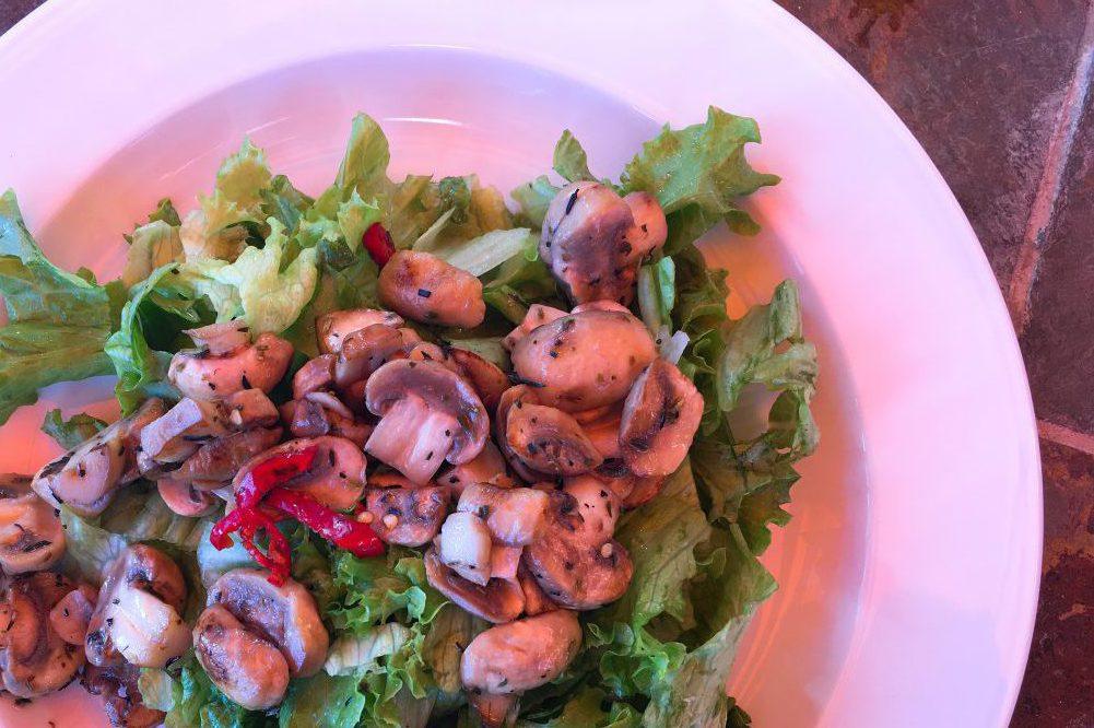 Salat mit gebratenen Champignons