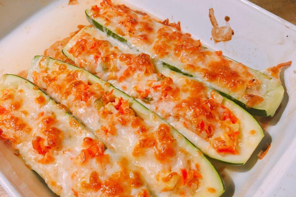 Zucchini Schiffchen gefüllt